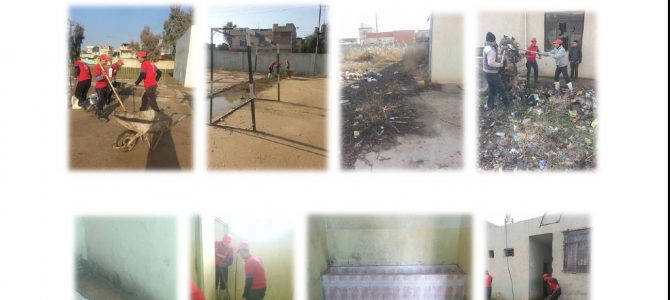 Voluntary activity to clean the sport yard and sanitary units
