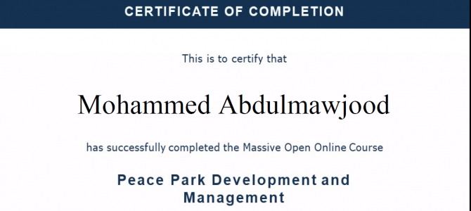 """certificate of the training course on: """"PEACE PARK DEVELOPMENT AND MANAGEMENT"""""""
