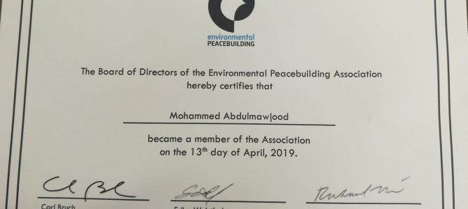 EADE Director received the membership certificate of The Environmental Peace Building Association.