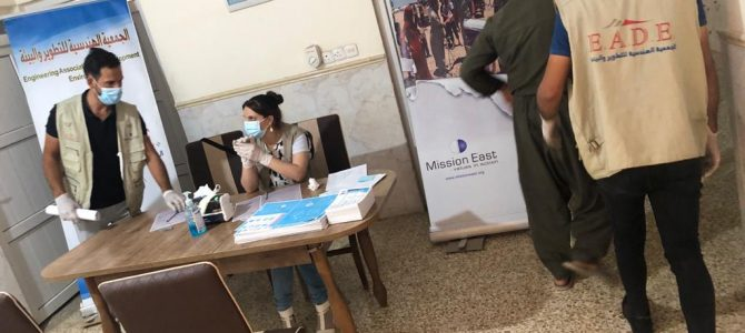EADE organization Distributed hygiene and cleaning kits and COVID-19 awareness for 200 families in Sinjar center